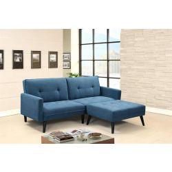 Диван-кровать с пуфом CORNER синий