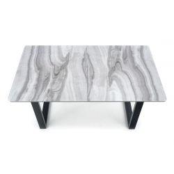 Раскладной обеденный стол MARLEY белый мрамор/серый 160-200/90/76 cm