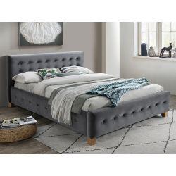 Кровать BARCELONA velvet серый BLUVEL 14 160x200