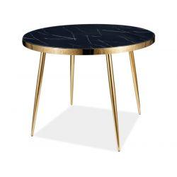 Ümmargune söögilaud CALVIN must marmor/kuld 100cm